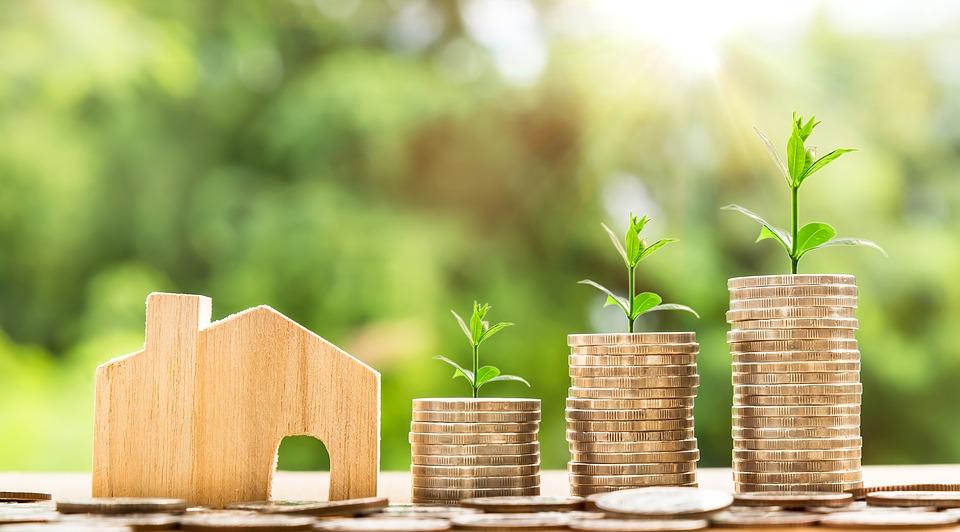 Holzhaus und Geldmünzen